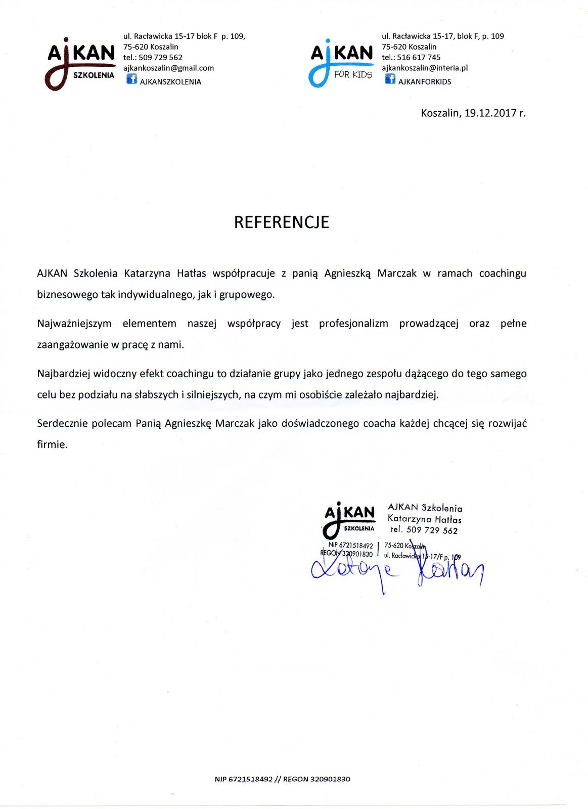 Referencje Ajkan