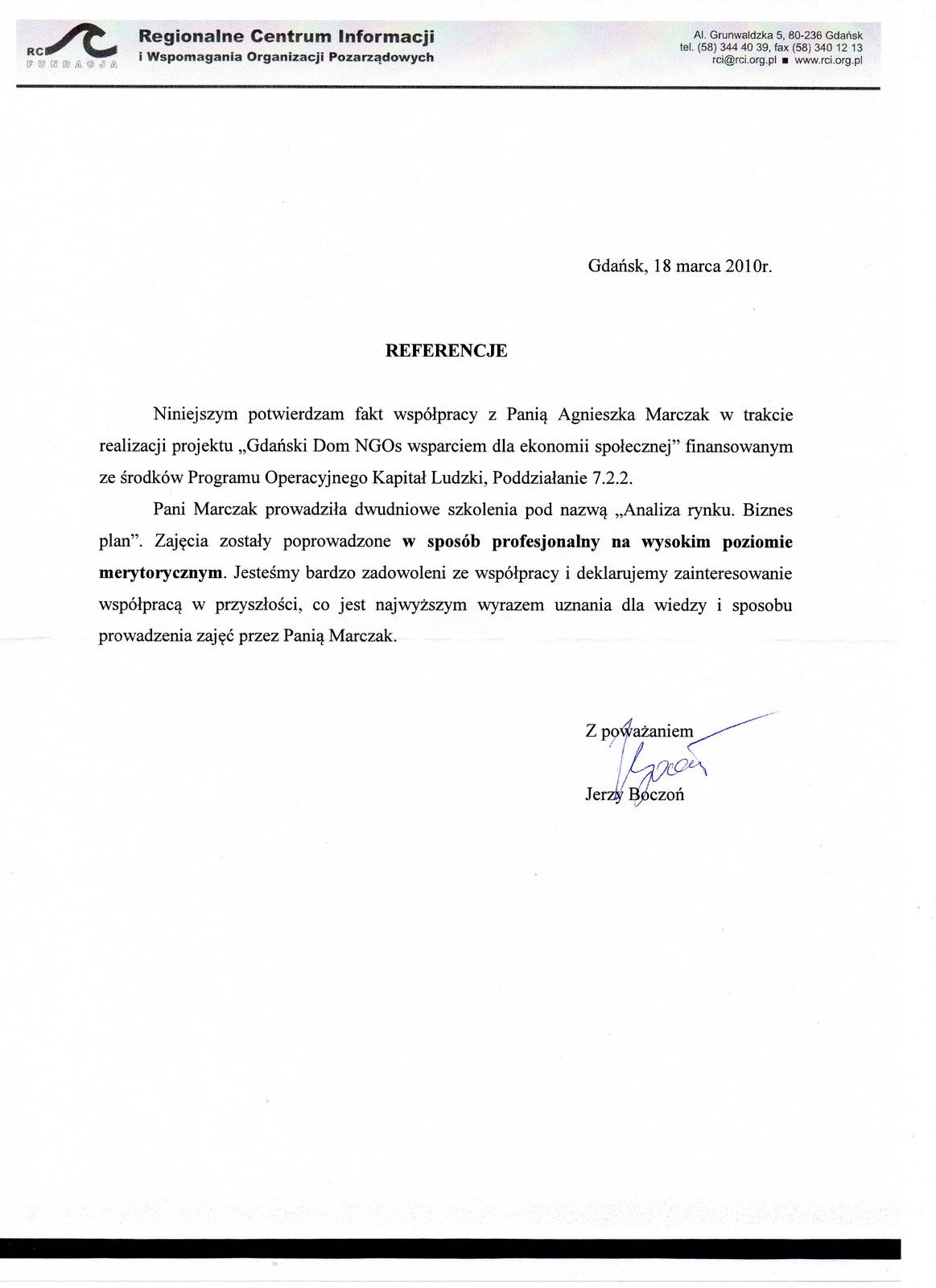 Referencje Fundacja RC